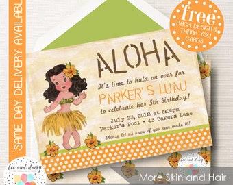 Vintage Luau Invitation, Hawaiian Luau Birthday Invitation, Luau Birthday Party, Luau Party Invitation, BeeAndDaisy Choose Skin & Hair Color