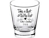 Wedding Shot Glasses - Wedding Favors - Personalized Shot Glasses - Take a Shot we Tied the Knot - Bachelorette Party - Custom Shot Glasses