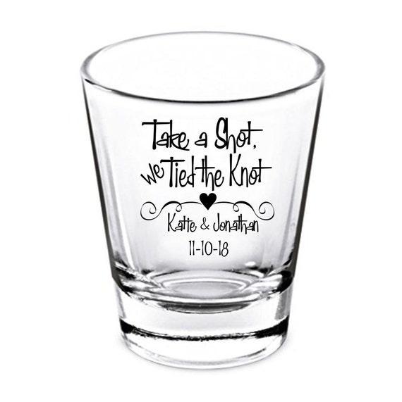 Wedding Shot Glasses - Wedding Favors - Take a Shot we Tied the Knot - Party Favors - Shot Glasses - Shot Glass - Bachelorette Party - Bachelor Party - Stag Par