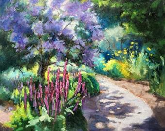 garden path spring time garden painting botanical garden painting landscape painting flower - Simple Flower Garden Paintings