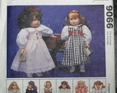 "McCalls 9066 18"" Doll Clothes Coat Hat Bathrobe Nightgown 3 Dresses  Craft Sewing Pattern Sew Uncut"