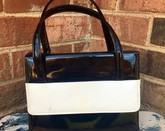 Vintage black and white handbag, pinup girl style purse, vintage purse, cute vintage style bag