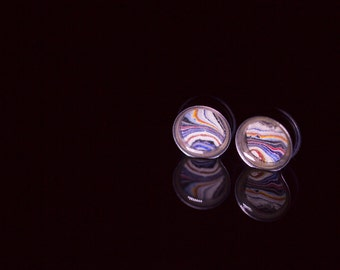18mm Ear Tunnels, Fordite Jewelry, Detroit Agate gifts, Michigan Material, Unique presents, Body Modification jewelry, One of a kind, paint