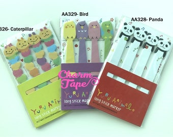 Long Animal Post-It Memo Colorful Caterpillar, Birds, Panda bear 80 sheets