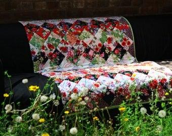 Floral patchwork quilt, floral quilt, modern patchwork quilt, bright flowers quilt, spring garden quilt, bright floral, sofa throw, UK quilt