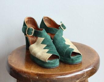1940s Platform Heels // Two Tone JOSEPH Platform Heels // vintage 40s brushed leather heels // 6.5-7 N