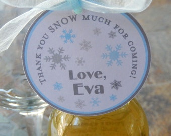"""50 2"""" Thank You SNOW Much Custom Party Favor Tags - For Mason Jar Favors - Cookie Gifts - Winter Birthday Tags - Disney Frozen Party Favors"""