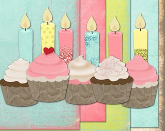 Cupcakes for Ryleigh digital kit with papers cupcakes glitter and candles. Commercial Use okay. scrapbook invitations supplies cardmaking