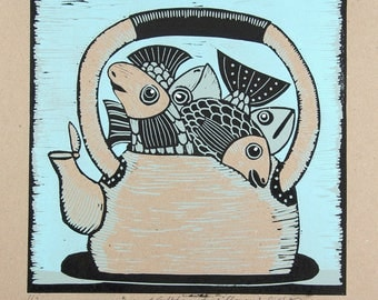 sale, linocut, a kettle of fish, fish, light blue, recycled paper, beige, print, printmaking, country style,  kitchen decor, art, proverb,