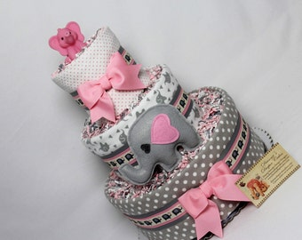 Elephants Baby Diaper Cake Girls Pink and Gray and others Shower Gift or Centerpiece