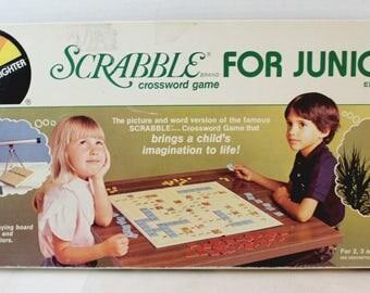 vintage scrabble for juniors crossword game