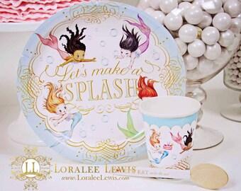 Mermaid Party Paper Dinnerware Set by Loralee Lewis