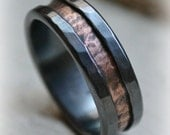 rustic fine silver and copper ring - handmade artisan designed wedding or engagement band - customized