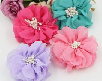 6 pcs Handmade Flower with Pearl Beads ( 9 x 7 cm ) Girls Hair Clips Hairbands Embellishment