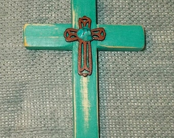 Small Handcrafted Recycled / Up-Cycled Wood Wall Cross-PaintedTurquoise w Wood Cross & Bead