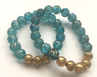 Blue and Gold Stretch Bracelet Set