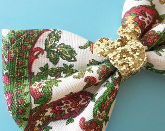 Holiday Christmas Paisley Glitter  Fabric Hair Bow. For Adults, Kids