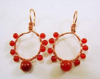 Copper and Carnelian Earrings