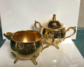 Sugar and Creamer Set 24K Gold Electroplated