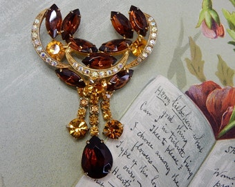 JULIANA Amber Dangle Rhinestone Brooch    HAB6