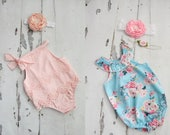 Boho Style Pom Pom Romper & Headband. Chenille Pink, Blue Lace, Floral. Newborn Baby Girl Coming Home Outfit, 1st Birthday Outfit Summer Set