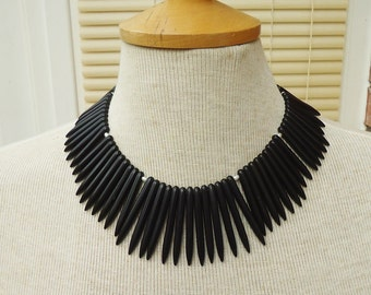 Black Magnetite Necklace, Black Gemstone Necklace, Black Bib Necklace