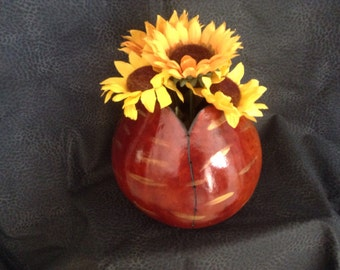 Brown and Gold Gourd Vase