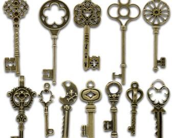 24 pcs. Antique Bronze Assortment of Key Keys Charms Pendants - 33x13mm to 69x20mm