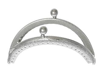 "5 pcs. Silver Tone Metal Purse Handbag Curved Frame - Kiss Clasp - Ball Clasp - Arch - 8.5cm x 6cm (3 3/8"" x 2 3/8"")"