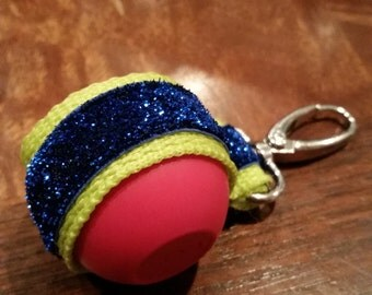EOS lip balm holder w/ lobster clasp / lime green / sparkling blue trim / EOS holder / EOS key chain / Seahawks / Seattle / Blue and Green