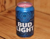 Hand Poured Soy Candle in Handmade Upcycled Bud Light Beer Can