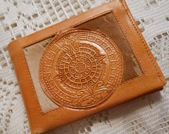 Mexico TOOLED Tan LEATHER WALLET Billfold Rustic Bull Fight Scene Traditional Circle Design on Fur Hide, Fold Style Card Slots Bill Section