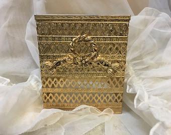 Hollywood Regency Brass Tissue Box Holder Mid-century