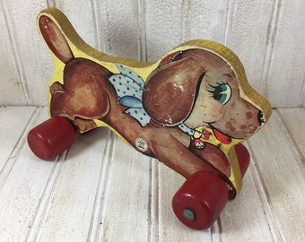 Vintage N N Hill Brass Co. Wooden Puppy Pull Toy