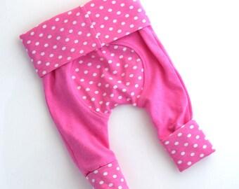 SALE - Squishiloones - Pink Newborn Leggings - Newborn Girl Clothing - Cloth Diaper Pants - Handmade by Zookaboo