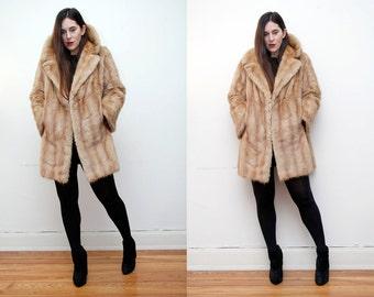 Vintage Fur Blonde Real Muskrat Swing Cape Coat RARE