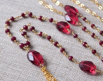 Reserved - Long Ruby Necklace, Gold Tassel, Real Gemstones AAA, Red Quartz, Valentines Day, Wire Wrapped Jewelry, Free Shipping