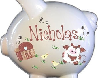 Personalized Piggy Bank with Barnyard Design | White | Brown | Large | Baby Gift | Free Shipping