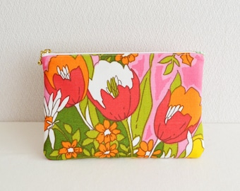Zipper pouch | Vintage | Mod / Retro floral | Pink-A- [325] Handmade in Japan