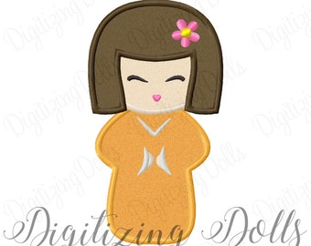 Kokeshi Doll Applique #2 Machine Embroidery Design 4x4 5x7 6x10 Japanese Doll INSTANT DOWNLOAD