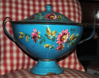 Very old French enamelware SOUP TUREEN Light Blue hand painted ROSES