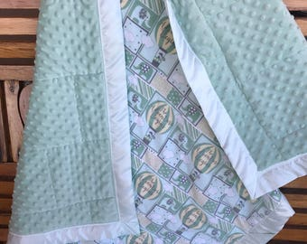 Baby Toddler Lovey Quilt Soft Green Minky , Satin Binding, Flannel