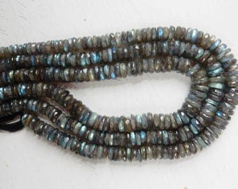 10-10.5mm Big , Blue flashy  Labradorite  faceted disk beads, heishi beads( options of  1/4, 1/2 strand and full strand)