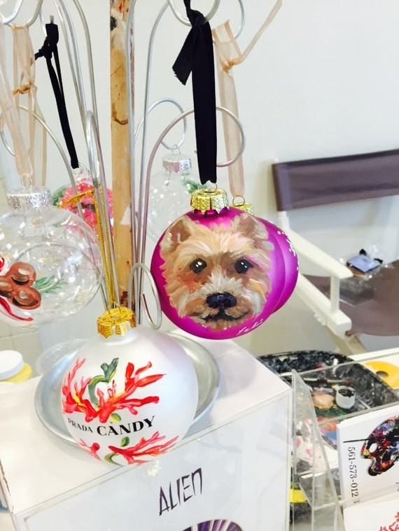 Yorkie Hand Painted Christmas Ornament