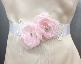 Bridal Pink Chiffon Flower White Belt Sash