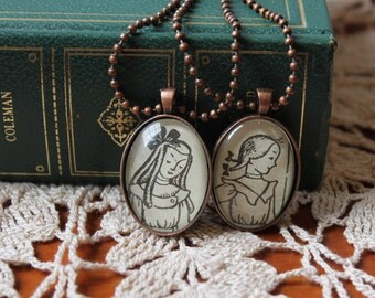 SALE Betsy and Tacy jewelry - best friends necklaces - Maud Hart Lovelace pendant - literary jewelry - sister necklace set - literary gift