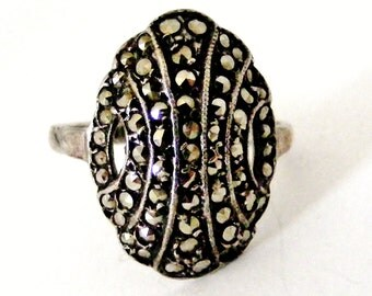 Original art deco sterling silver pave set marcasite domed ring