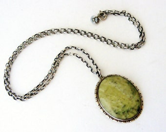 Vintage sterling silver & Connemara marble pendant and chain