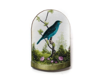 Vintage Blue Sparrow Wooden Brooch Pin