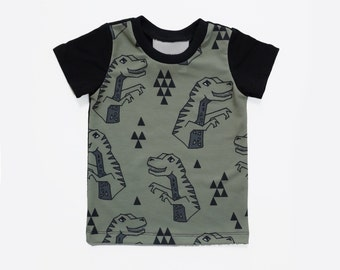 LIMITED EDITION// Geometric dinosaur print kids shirt, modern gemotric toddler shirt, boys girls unisex clothes, ready to ship